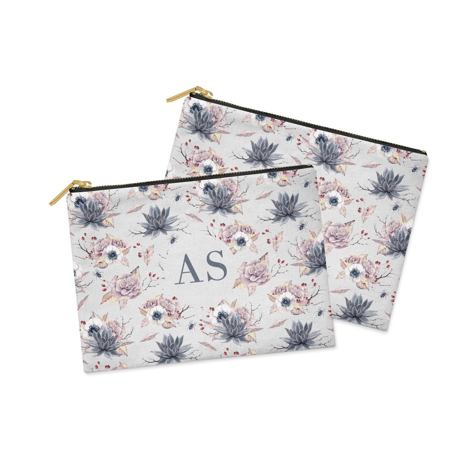 Personalised Halloween Floral Clutch Bag Zipper Pouch Alternative View