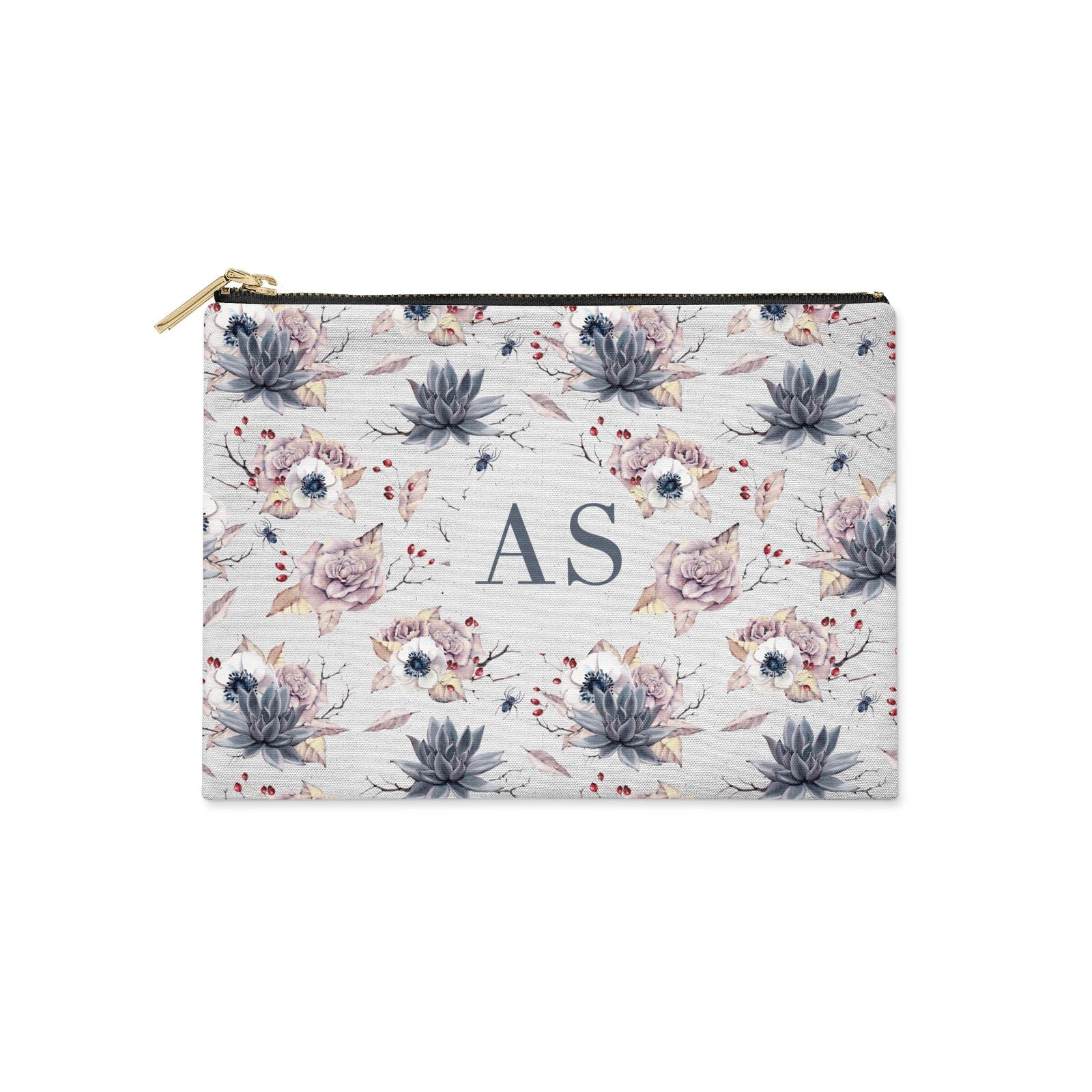 Personalised Halloween Floral Clutch Bag Zipper Pouch