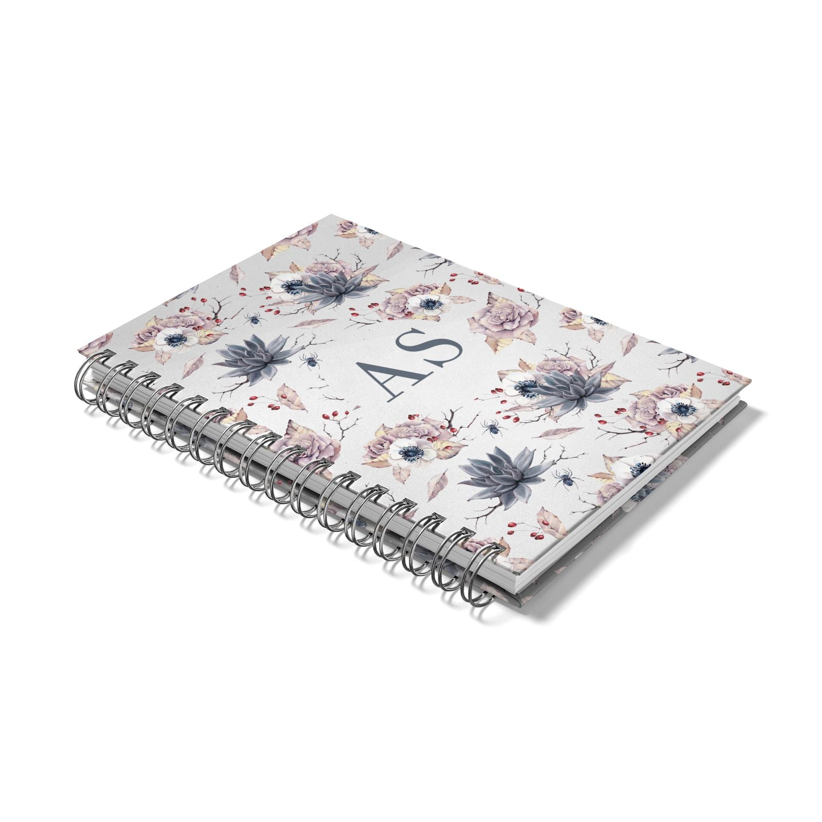 Personalised Halloween Floral Notebook with Silver Coil Laid Flat