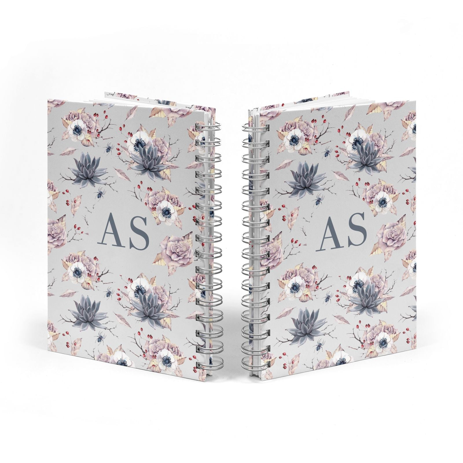Personalised Halloween Floral Notebook with Silver Coil Spine View