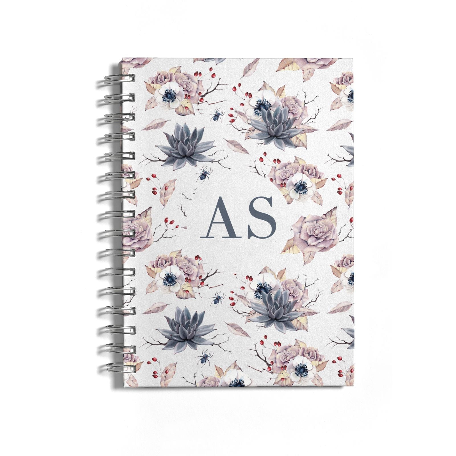Personalised Halloween Floral Notebook with Silver Coil