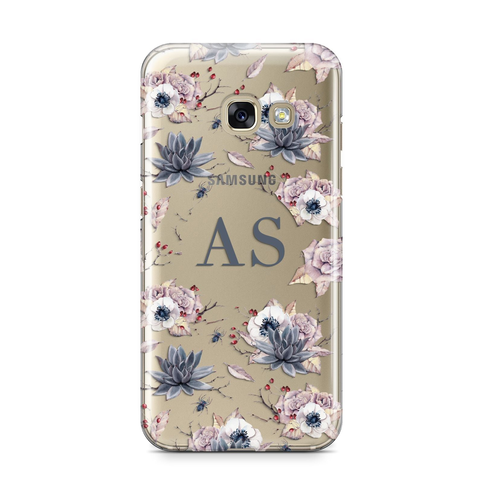 Personalised Halloween Floral Samsung Galaxy A3 2017 Case on gold phone