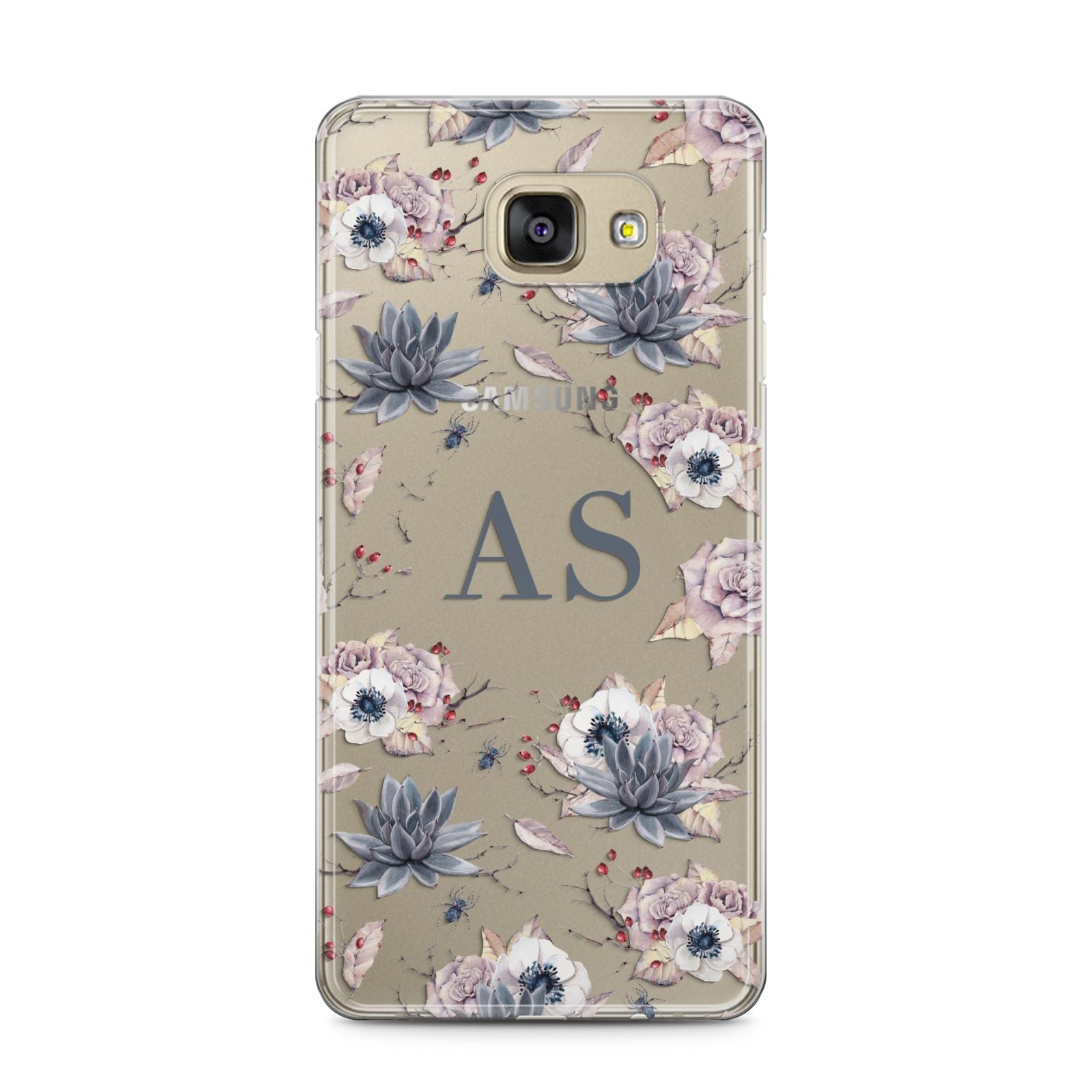 Personalised Halloween Floral Samsung Galaxy A5 2016 Case on gold phone
