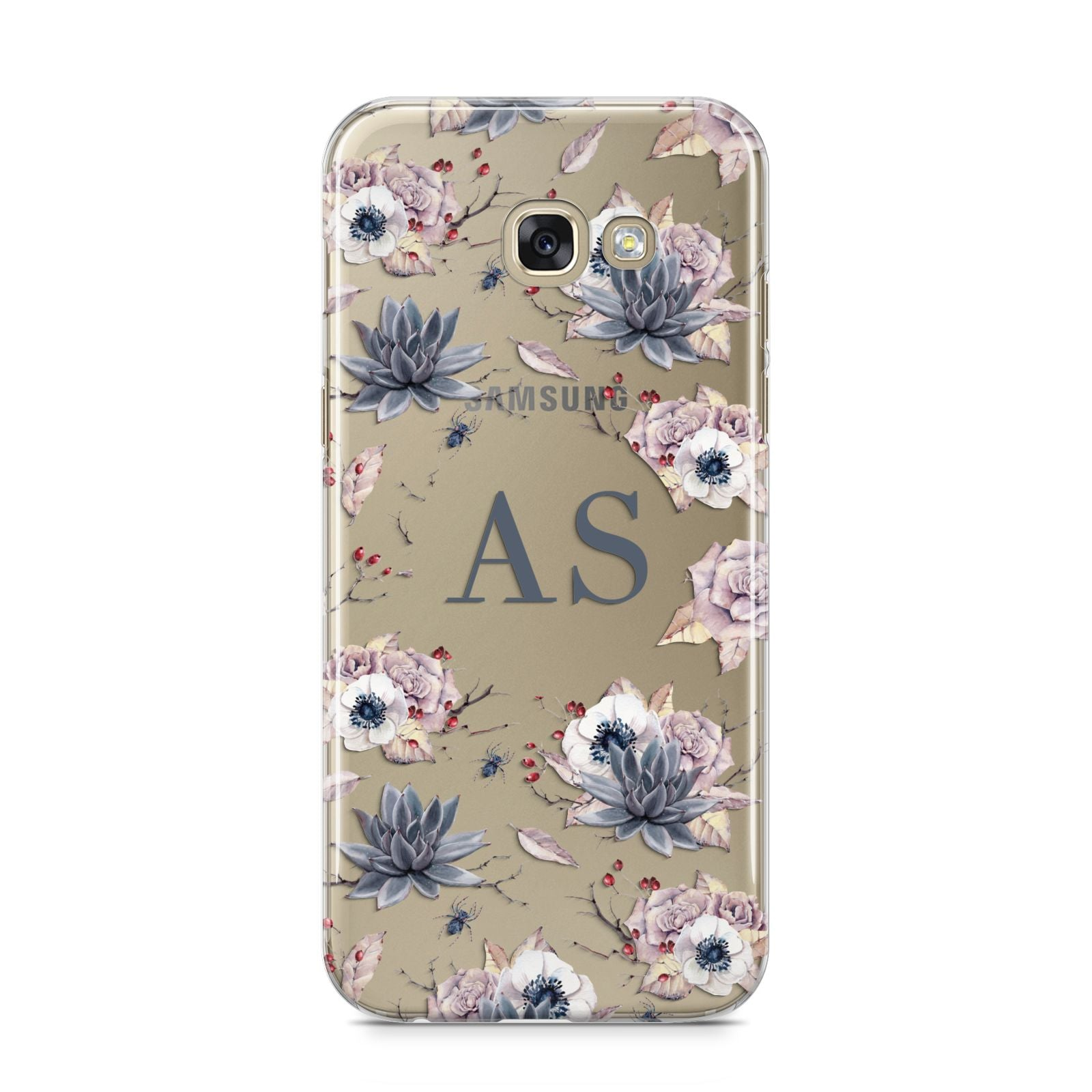Personalised Halloween Floral Samsung Galaxy A5 2017 Case on gold phone
