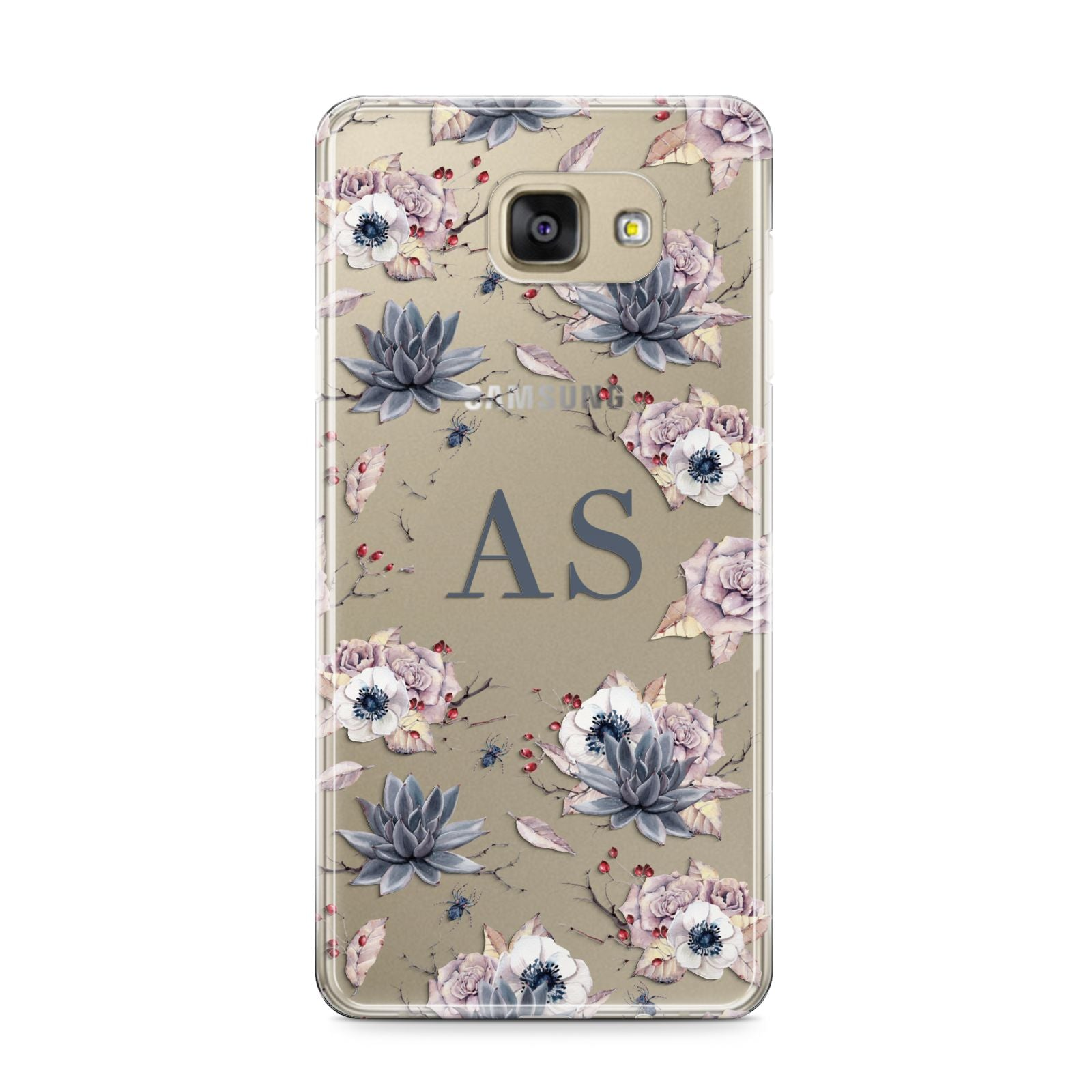 Personalised Halloween Floral Samsung Galaxy A9 2016 Case on gold phone