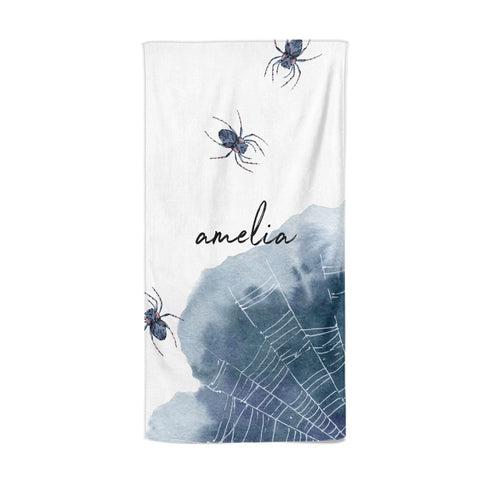 Personalised Halloween Spider Web Beach Towel