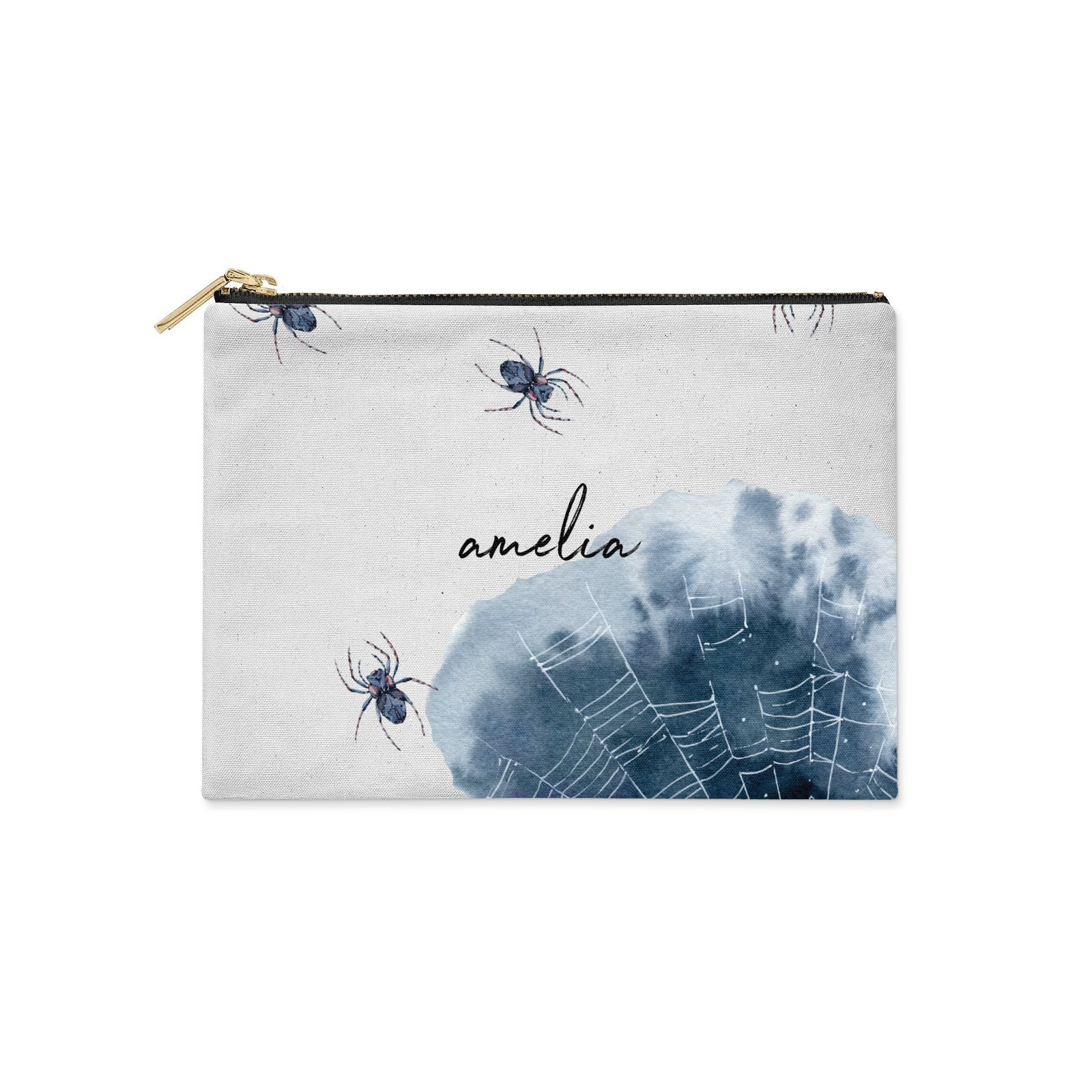 Personalised Halloween Spider Web Clutch Bag Zipper Pouch