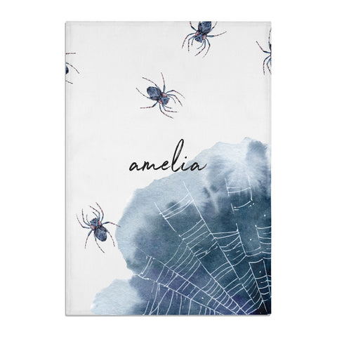 Personalised Halloween Spider Web Tea Towel