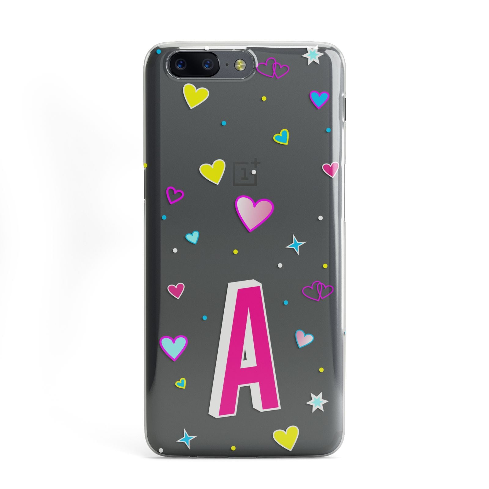 new style d6909 8d5df Personalised Heart Alphabet Clear OnePlus Case