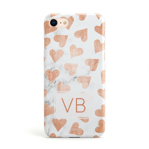Personalised Heart Initialled Marble Apple iPhone Case
