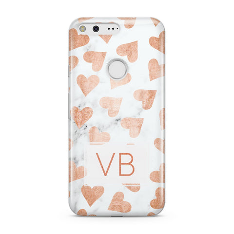Personalised Heart Initialled Marble Google Case