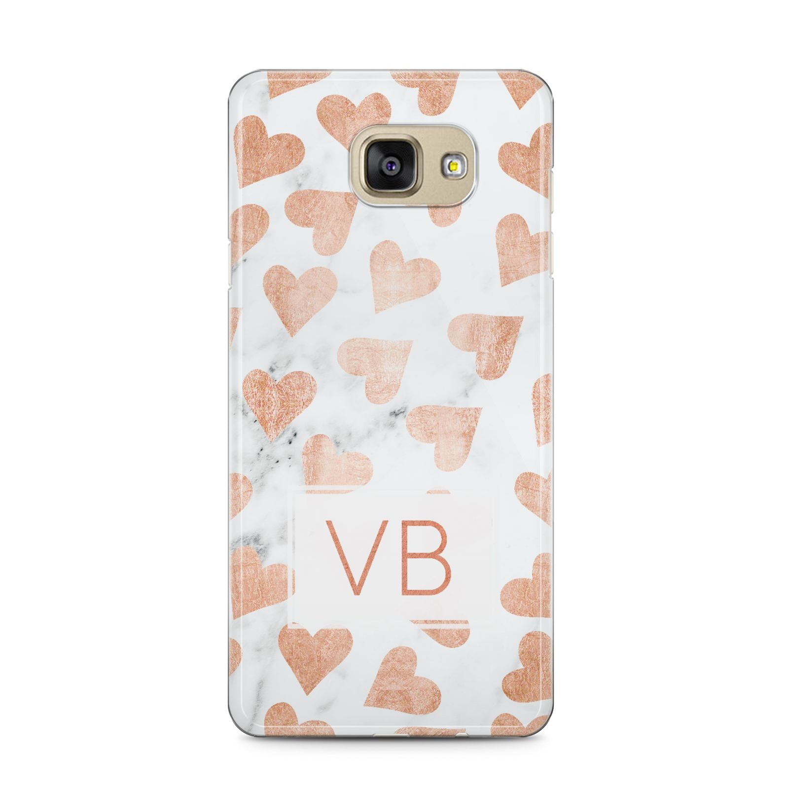 Personalised Heart Initialled Marble Samsung Galaxy A5 2016 Case on gold phone