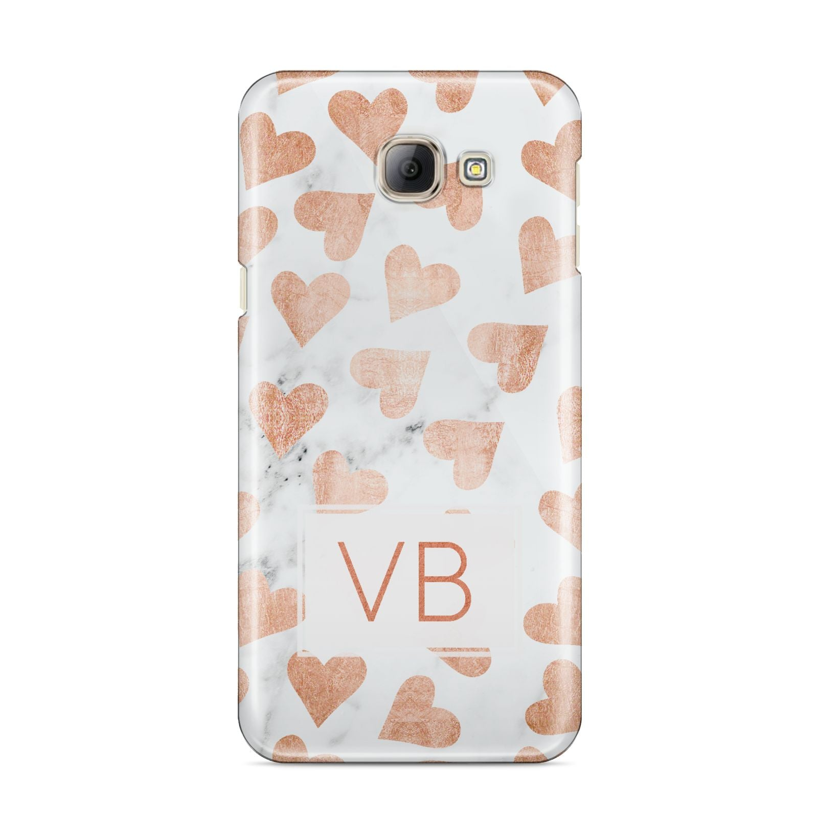 Personalised Heart Initialled Marble Samsung Galaxy A8 2016 Case