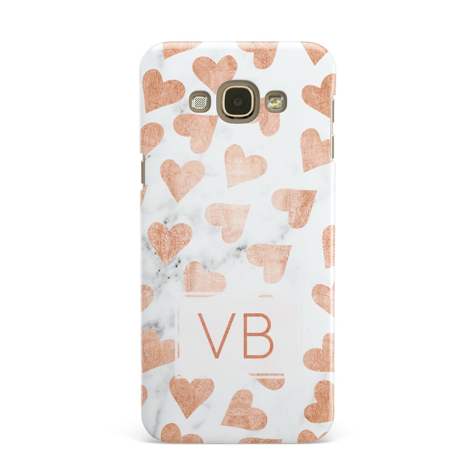 Personalised Heart Initialled Marble Samsung Galaxy A8 Case