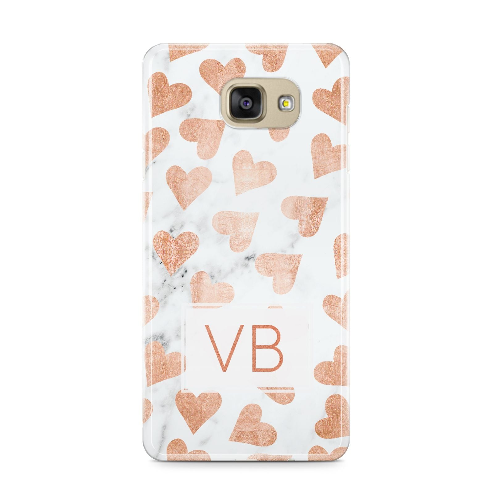Personalised Heart Initialled Marble Samsung Galaxy A9 2016 Case on gold phone