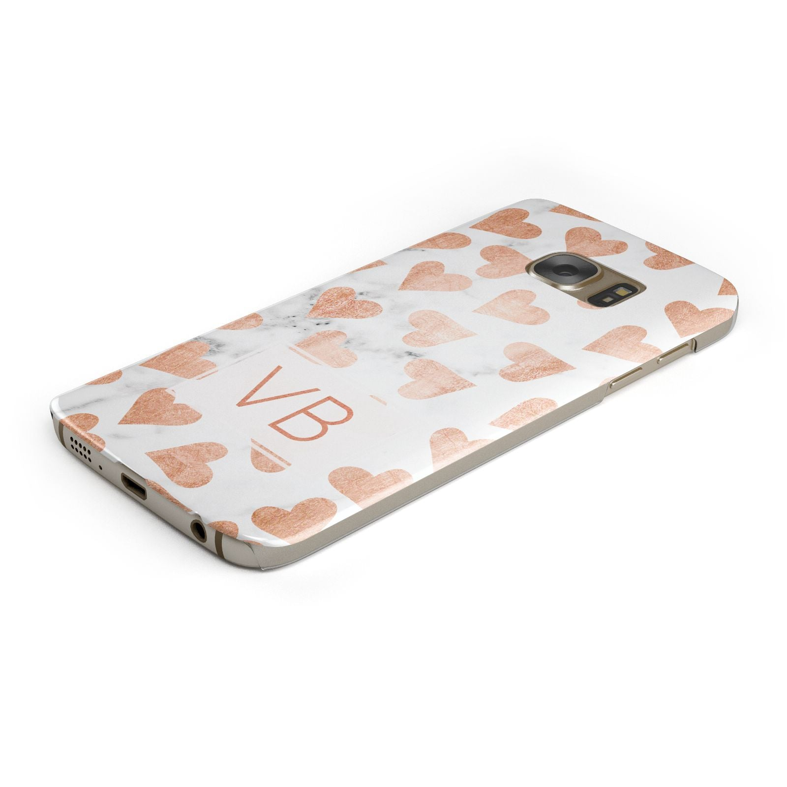 Personalised Heart Initialled Marble Samsung Galaxy Case Bottom Cutout