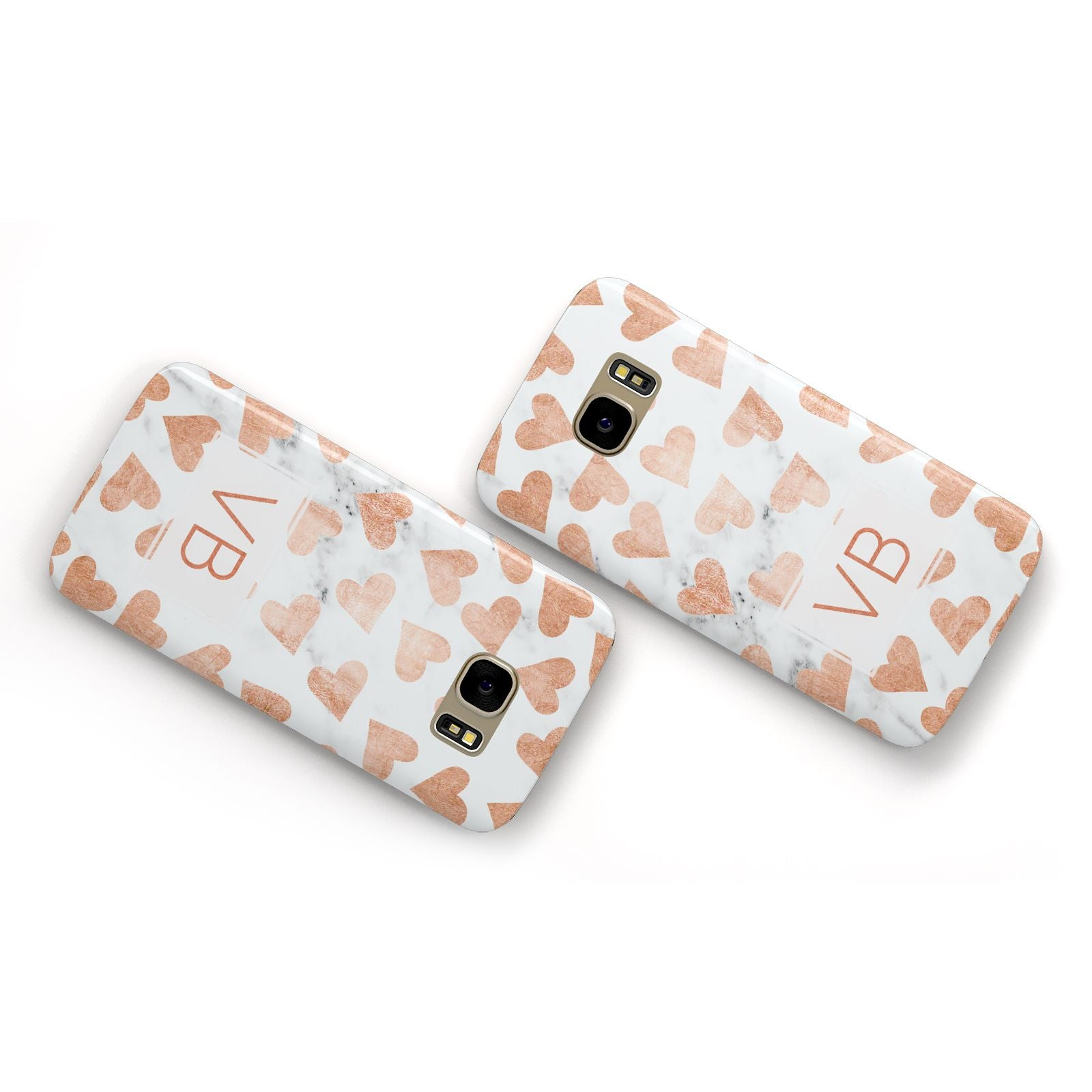 Personalised Heart Initialled Marble Samsung Galaxy Case Flat Overview