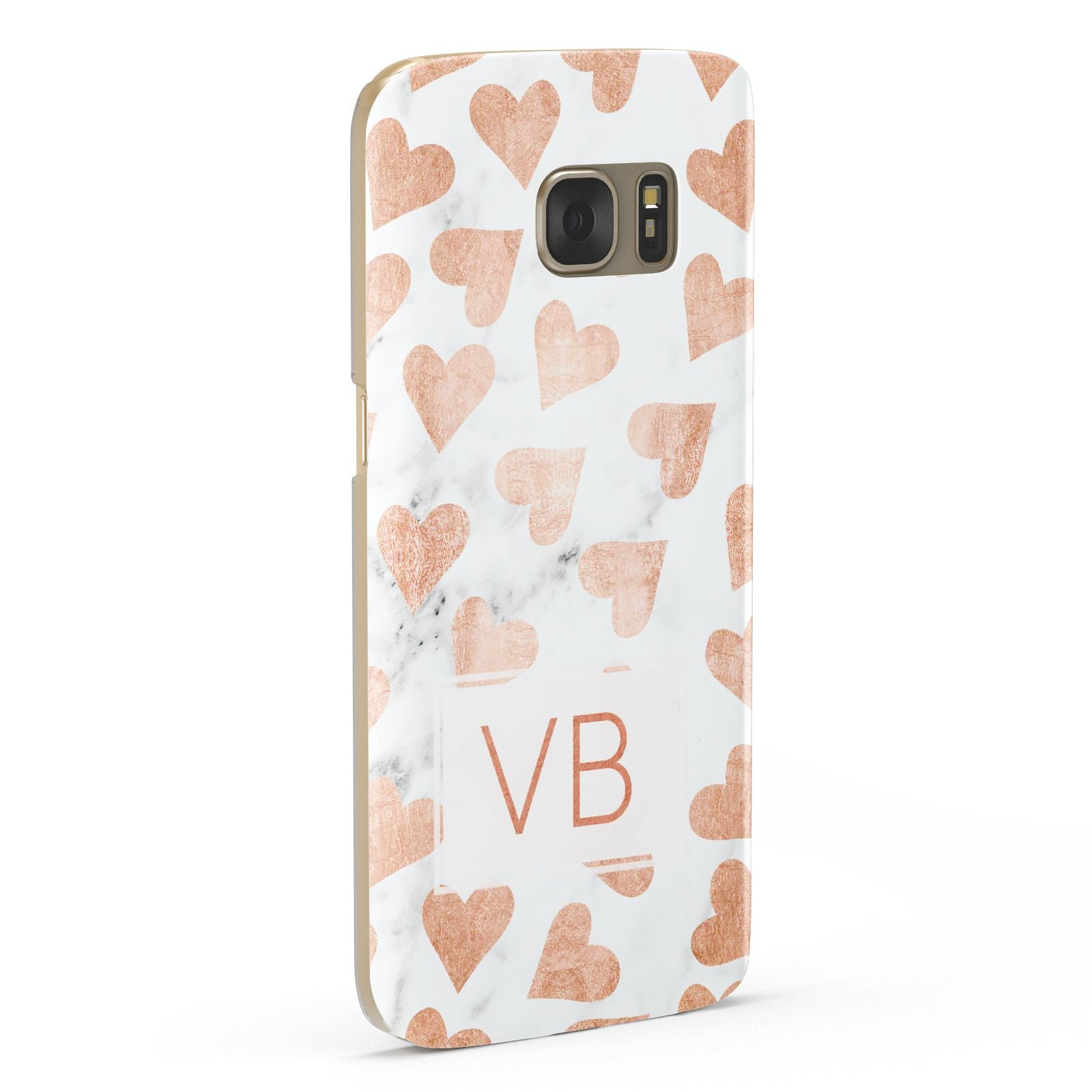 Personalised Heart Initialled Marble Samsung Galaxy Case Fourty Five Degrees