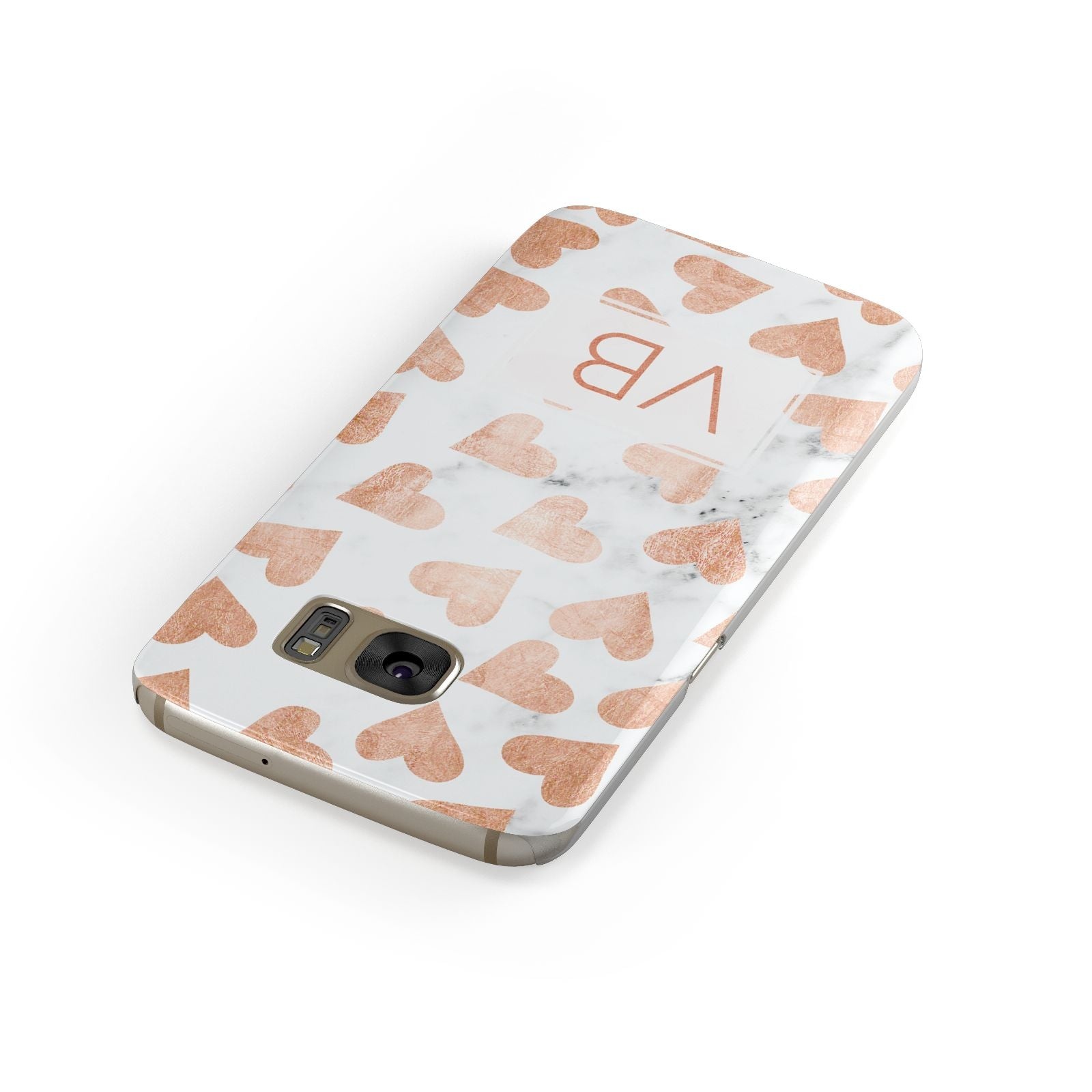 Personalised Heart Initialled Marble Samsung Galaxy Case Front Close Up