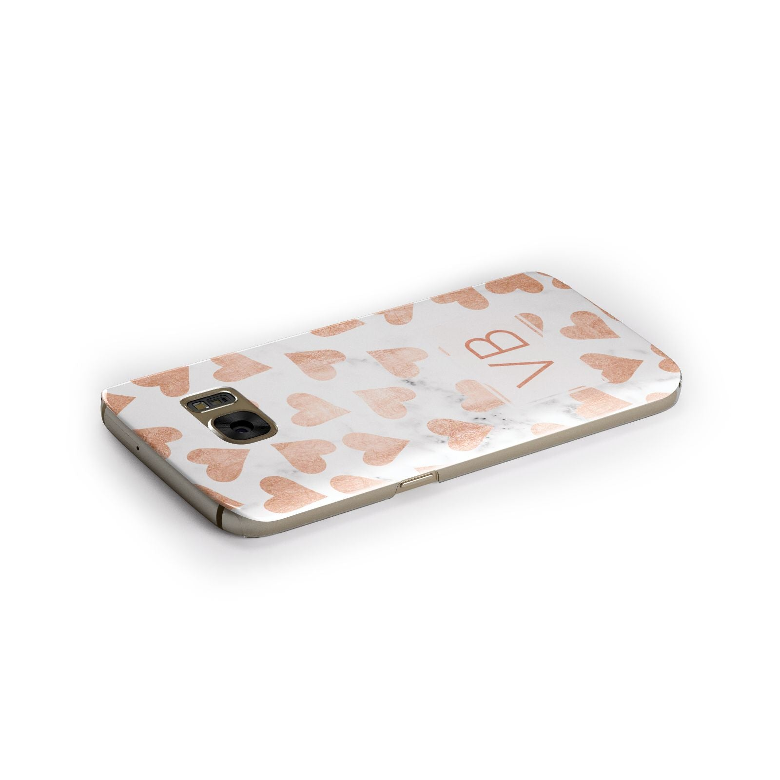 Personalised Heart Initialled Marble Samsung Galaxy Case Side Close Up