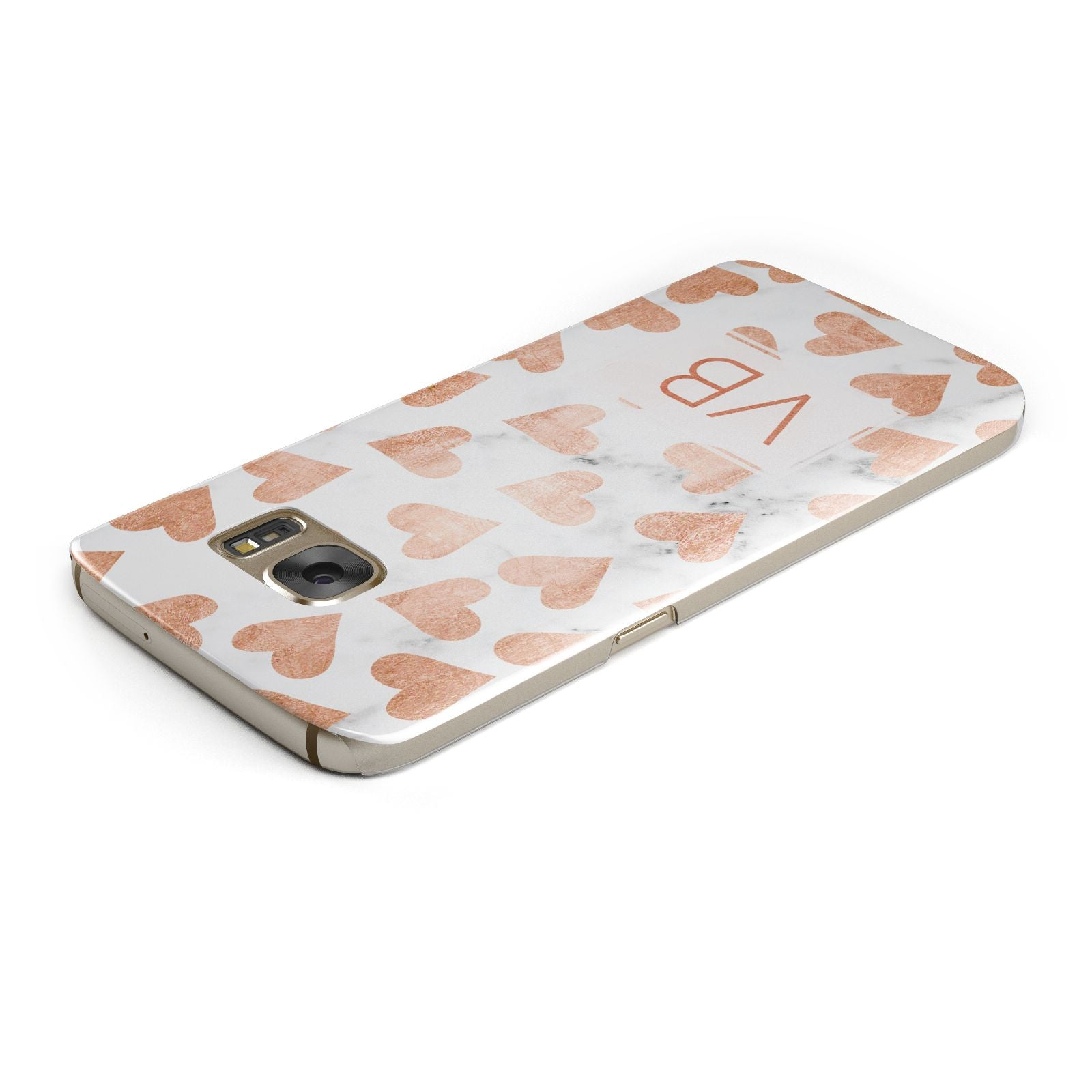 Personalised Heart Initialled Marble Samsung Galaxy Case Top Cutout