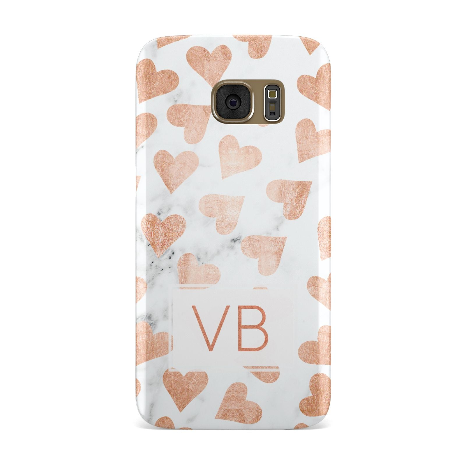 Personalised Heart Initialled Marble Samsung Galaxy Case