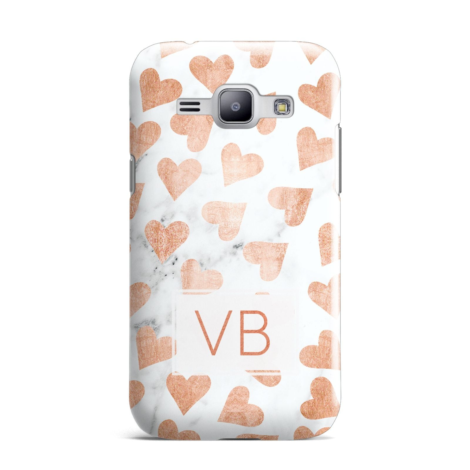 Personalised Heart Initialled Marble Samsung Galaxy J1 2015 Case