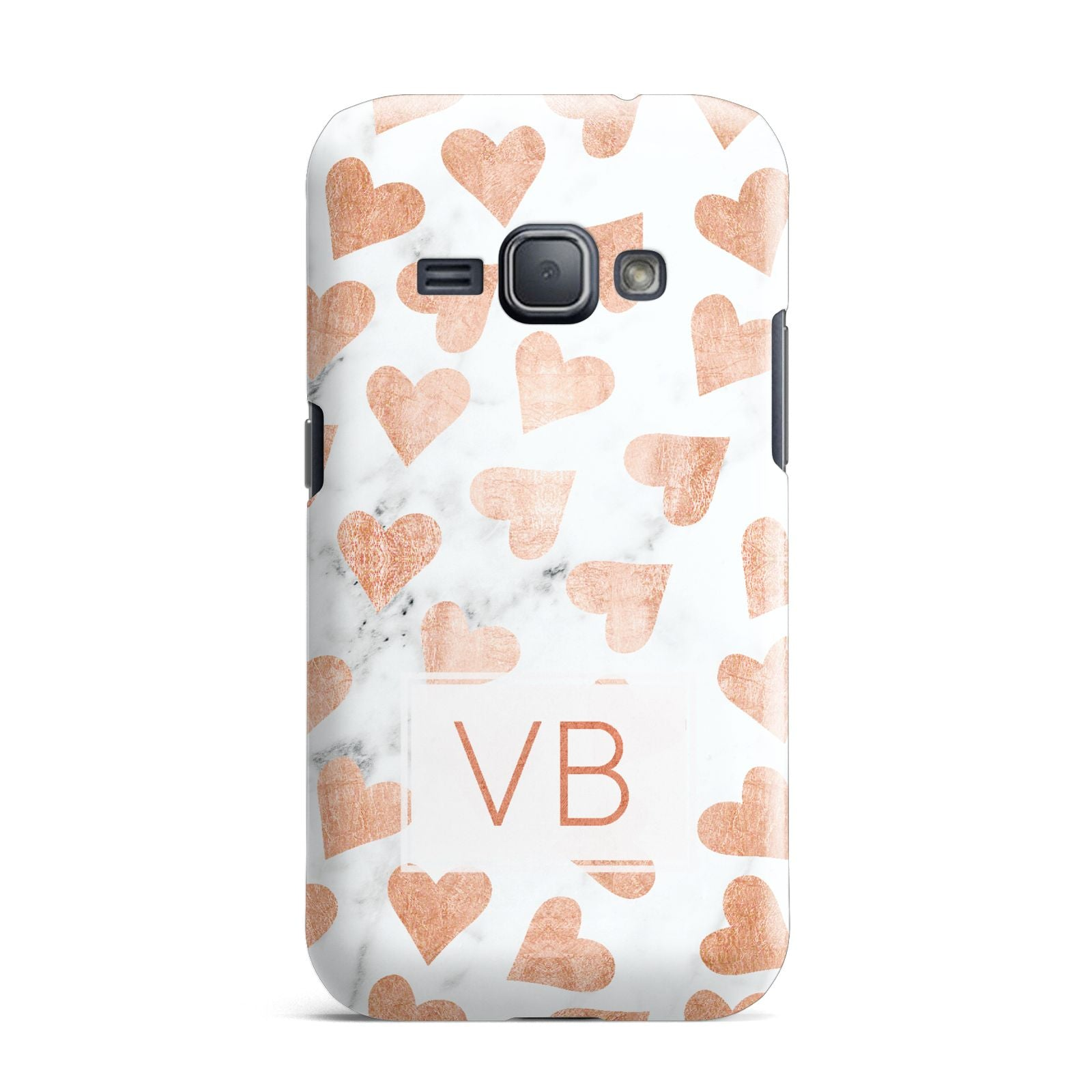 Personalised Heart Initialled Marble Samsung Galaxy J1 2016 Case