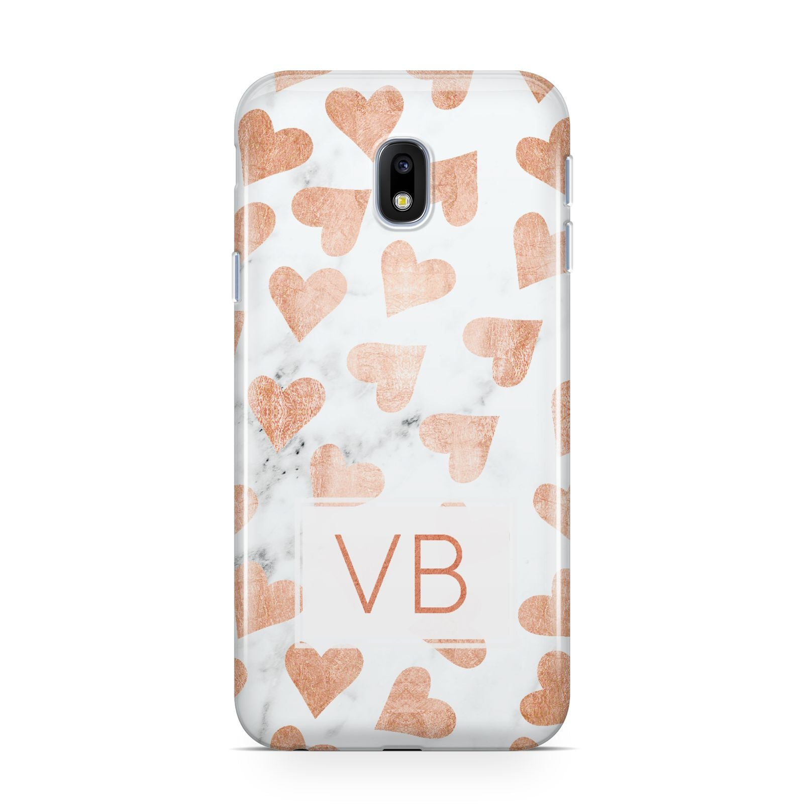 Personalised Heart Initialled Marble Samsung Galaxy J3 2017 Case