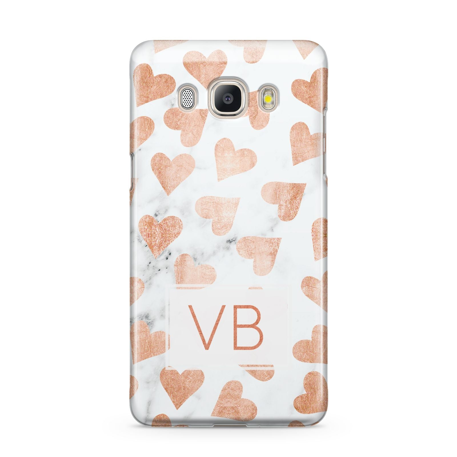 Personalised Heart Initialled Marble Samsung Galaxy J5 2016 Case