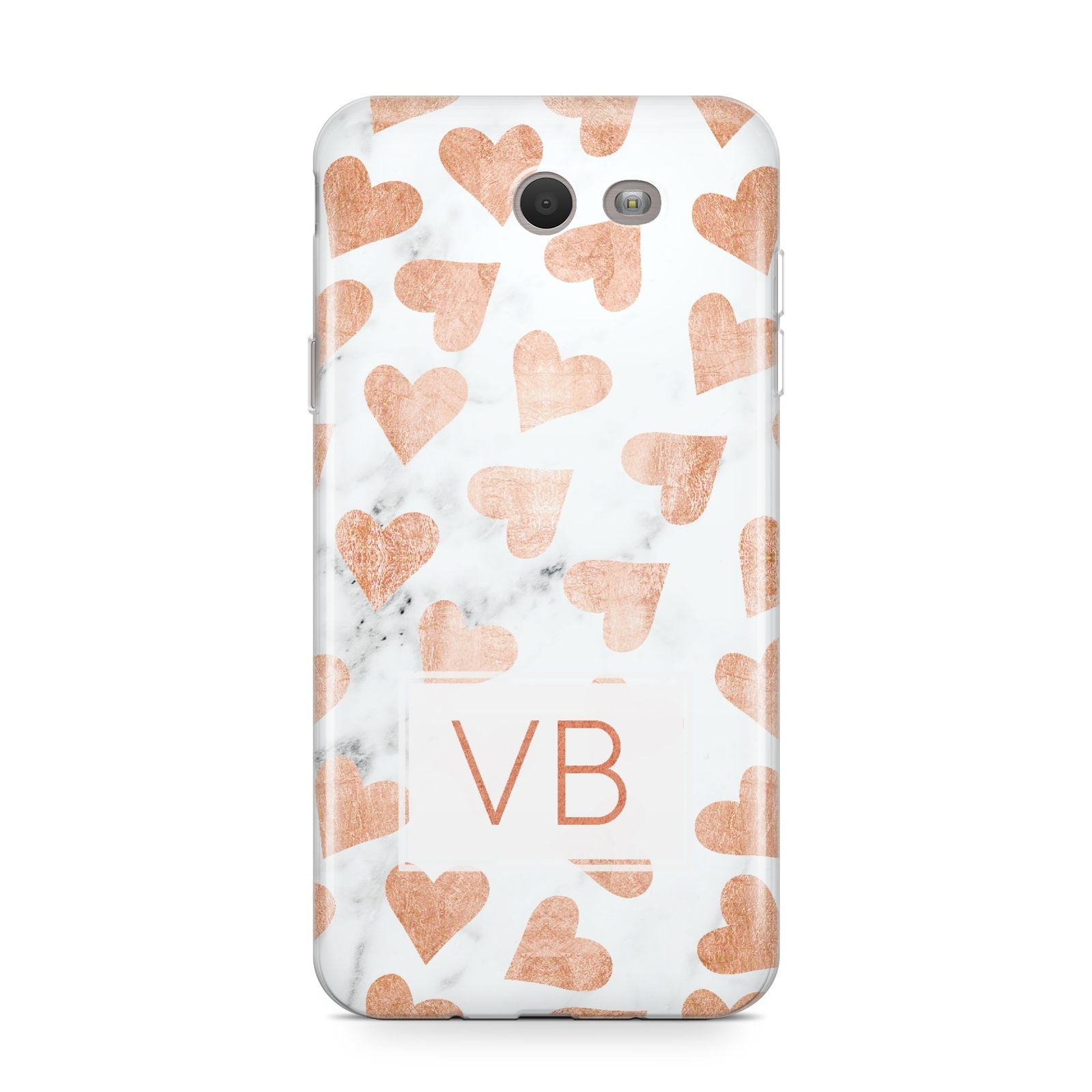 Personalised Heart Initialled Marble Samsung Galaxy J7 2017 Case