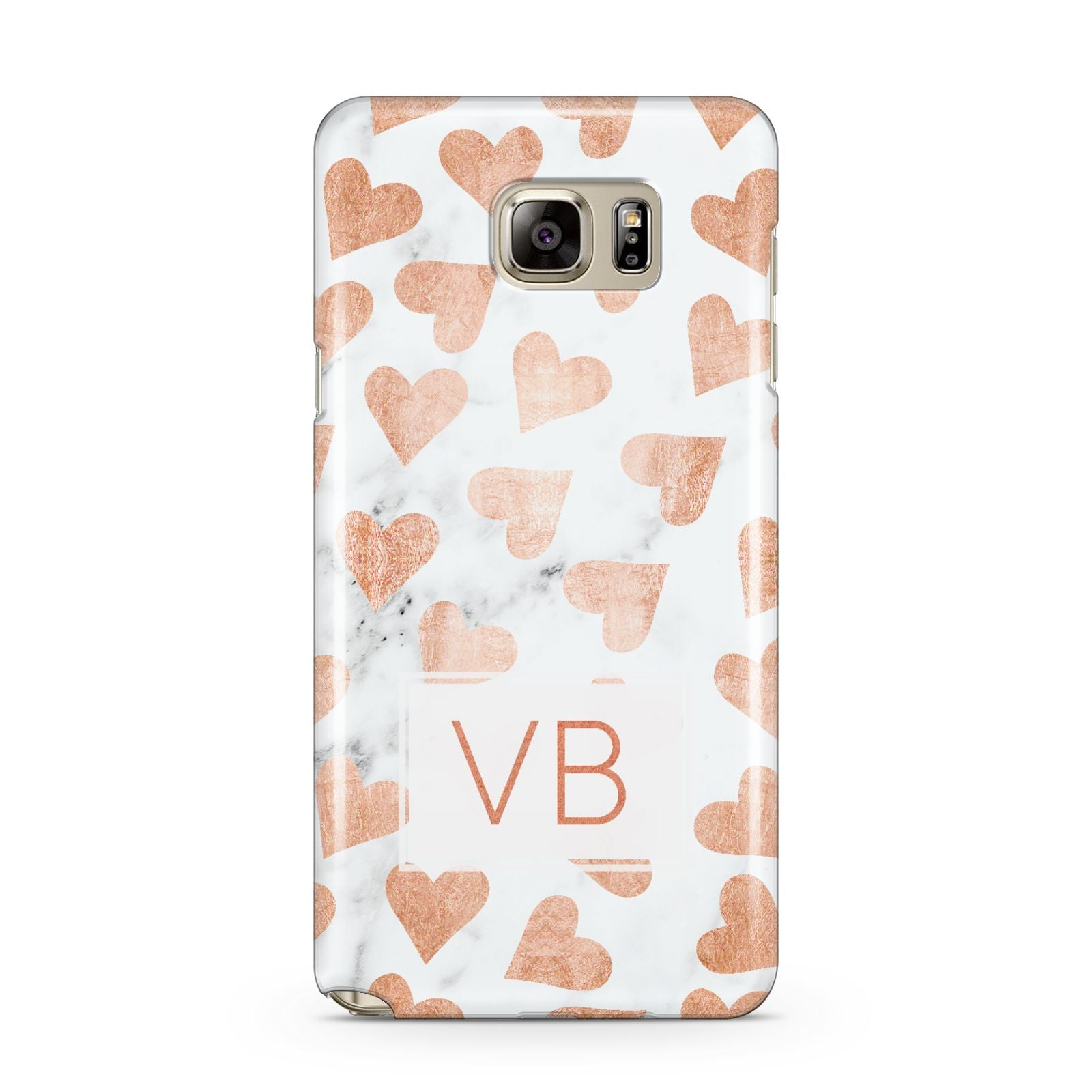 Personalised Heart Initialled Marble Samsung Galaxy Note 5 Case