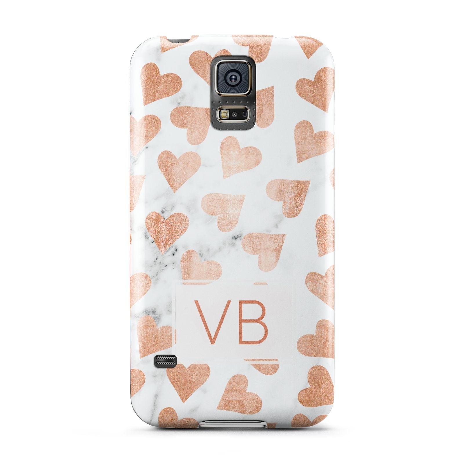 Personalised Heart Initialled Marble Samsung Galaxy S5 Case