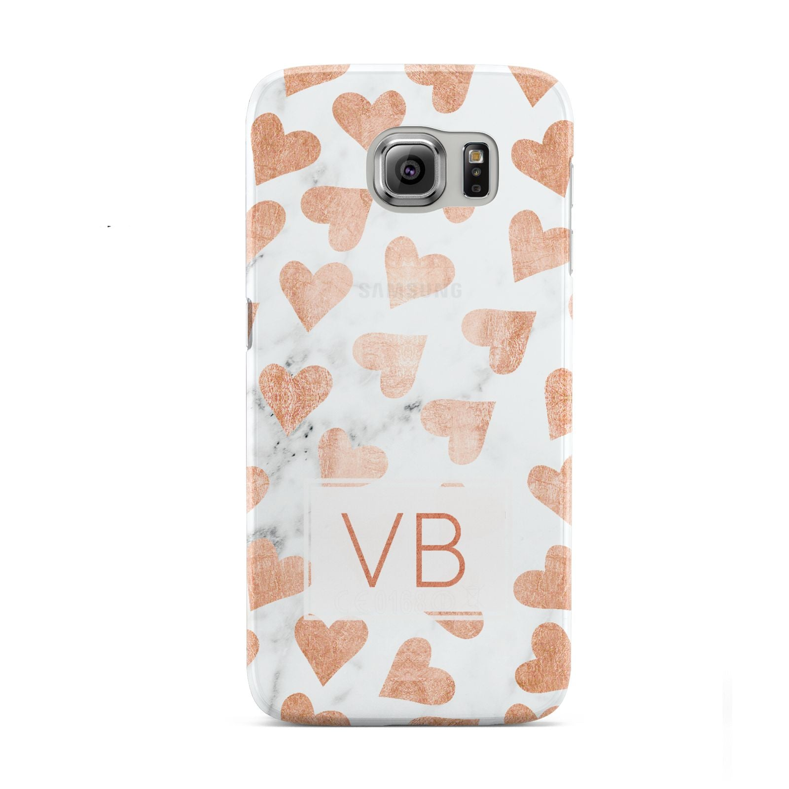 Personalised Heart Initialled Marble Samsung Galaxy S6 Case