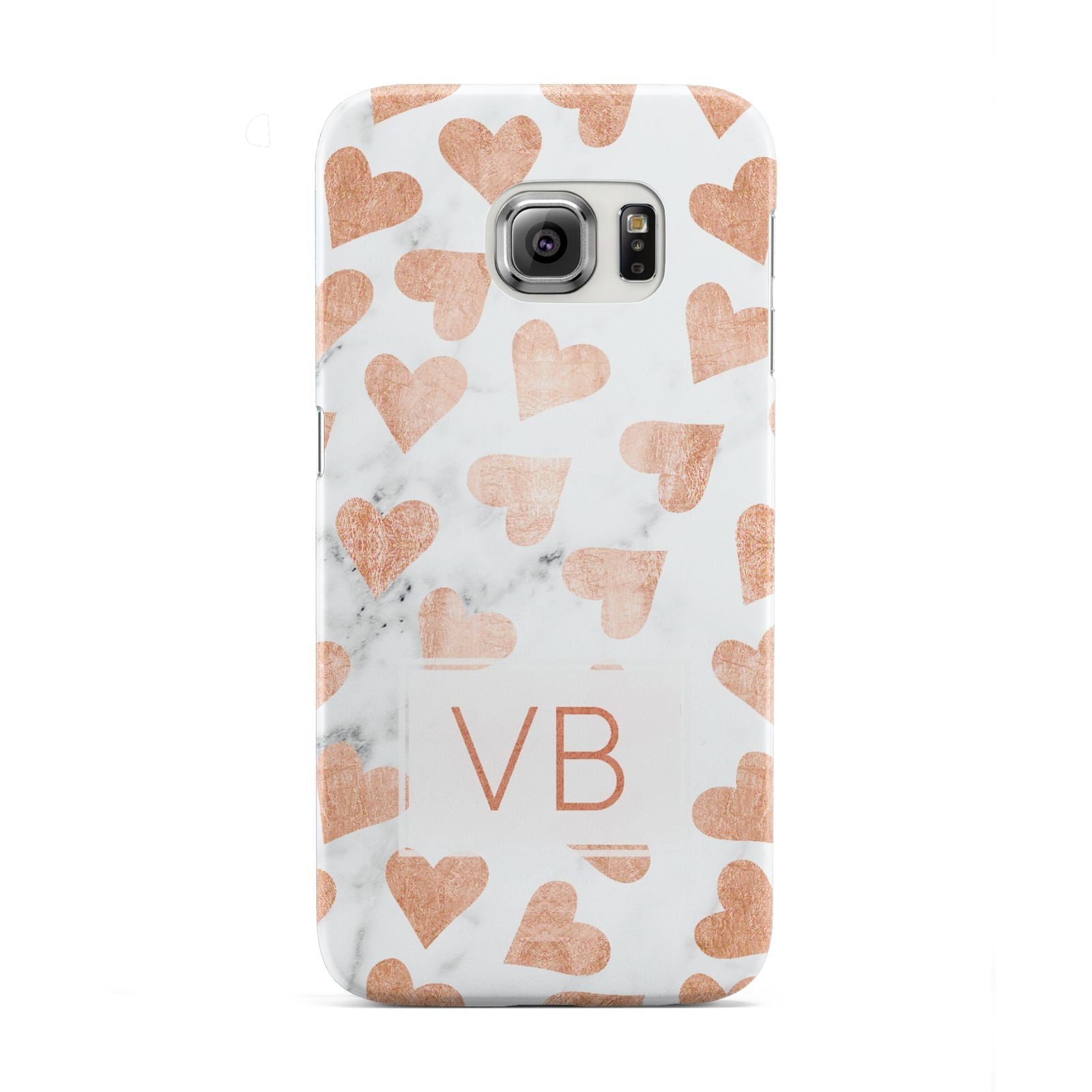 Personalised Heart Initialled Marble Samsung Galaxy S6 Edge Case