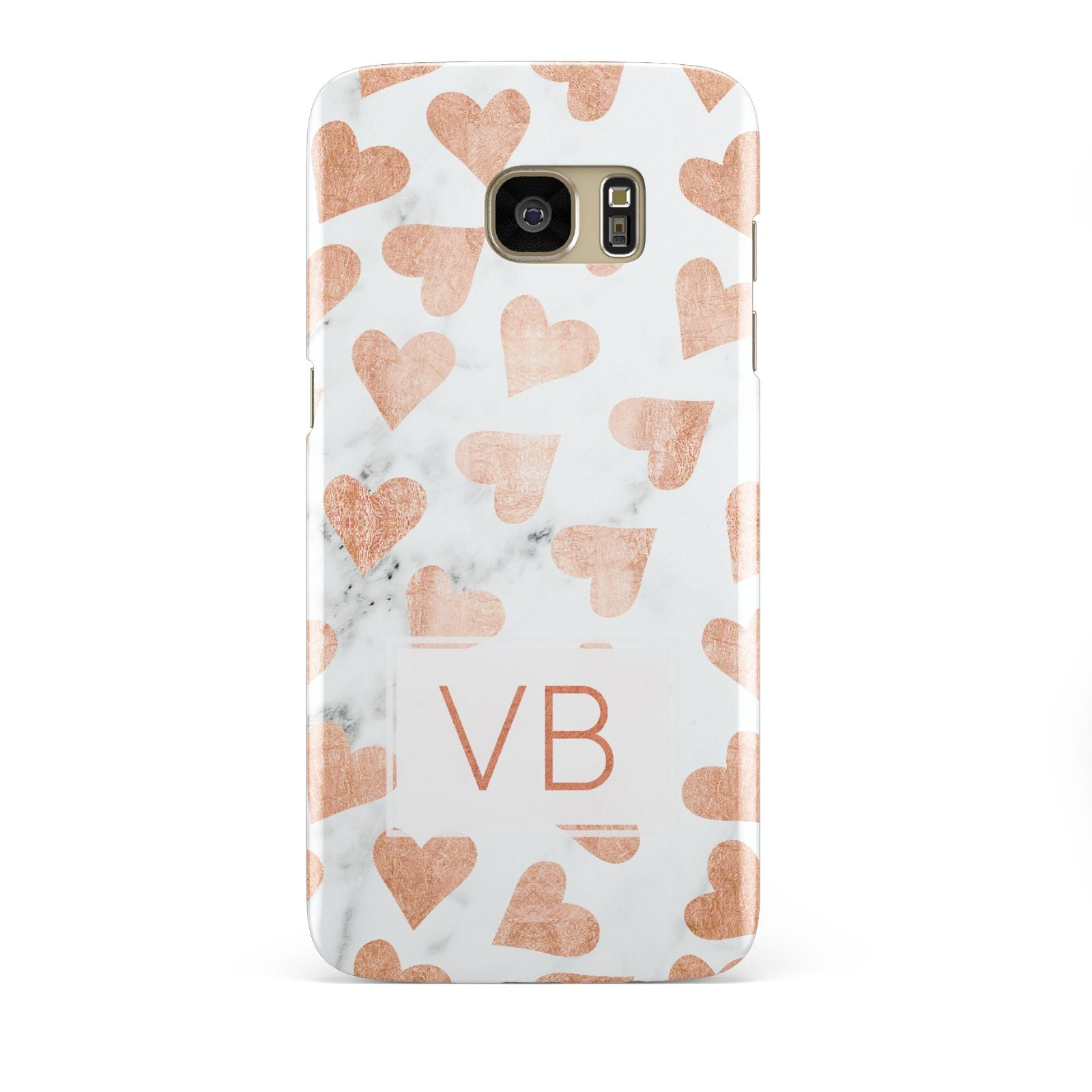Personalised Heart Initialled Marble Samsung Galaxy S7 Edge Case
