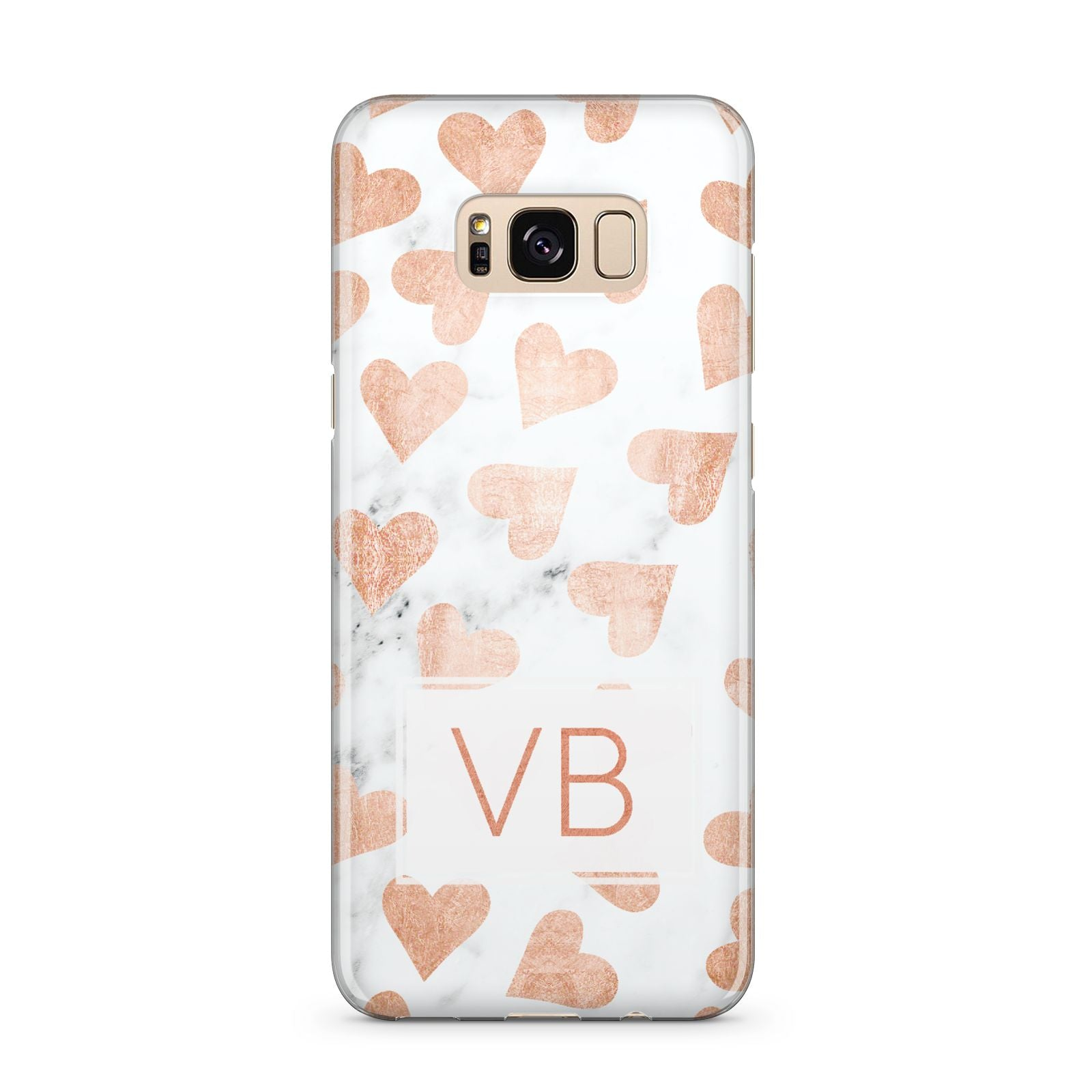 Personalised Heart Initialled Marble Samsung Galaxy S8 Plus Case