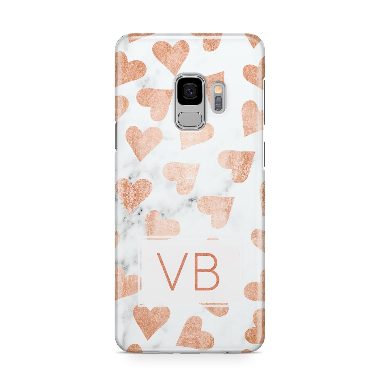 Personalised Heart Initialled Marble Samsung Galaxy S9 Case