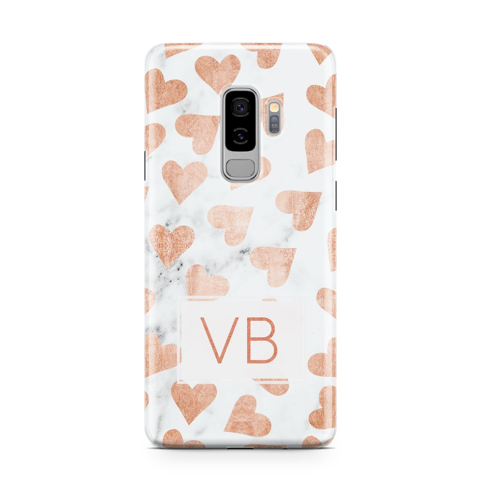 Personalised Heart Initialled Marble Samsung Galaxy S9 Plus Case on Silver phone