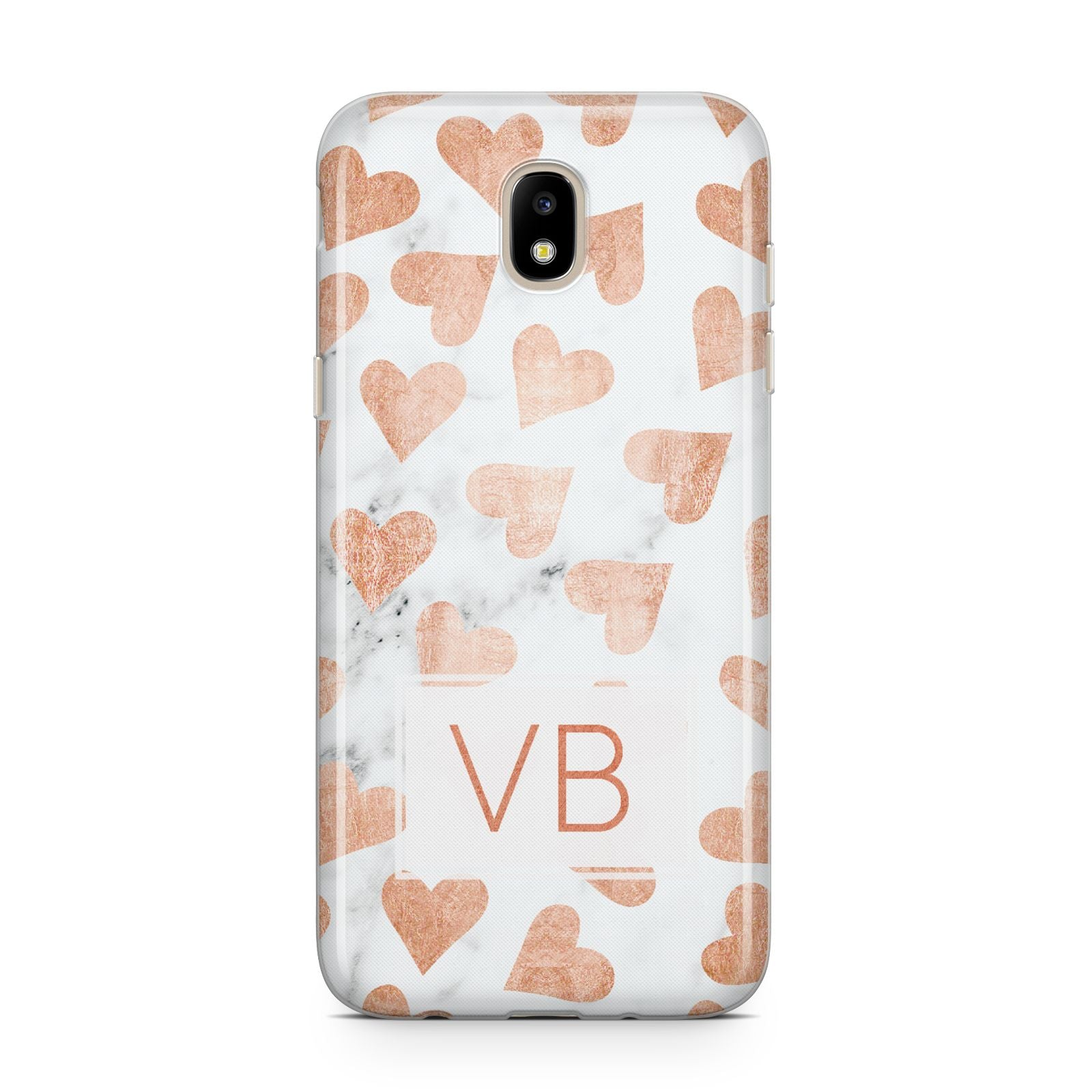 Personalised Heart Initialled Marble Samsung J5 2017 Case
