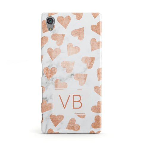 Personalised Heart Initialled Marble Sony Xperia Case
