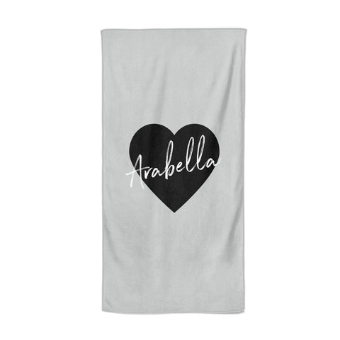 Personalised Heart Valentines Beach Towel
