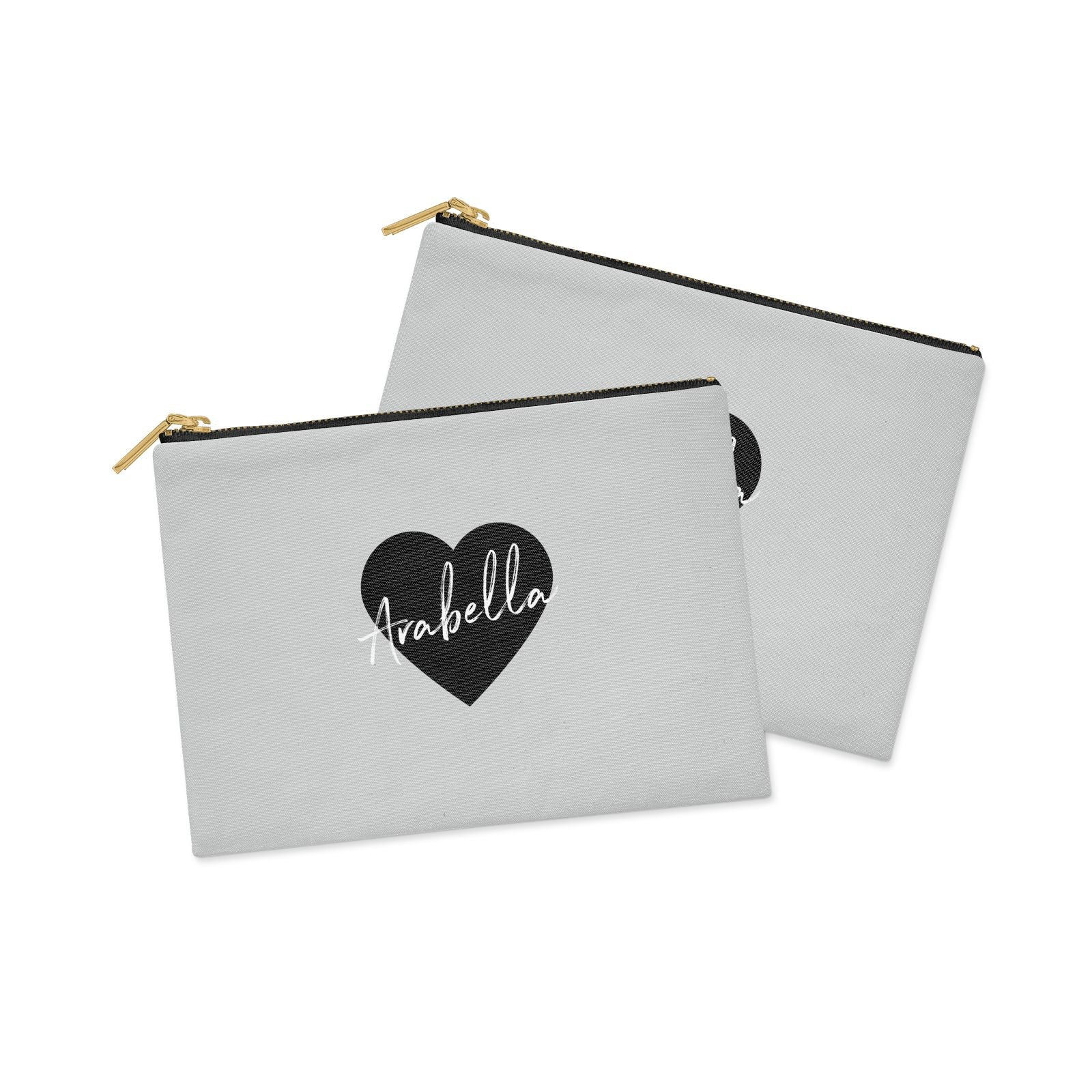 Personalised Heart Valentines Clutch Bag Zipper Pouch Alternative View