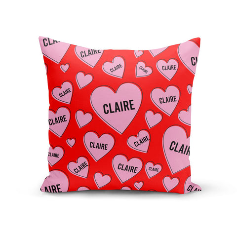 Personalised Hearts Cushion