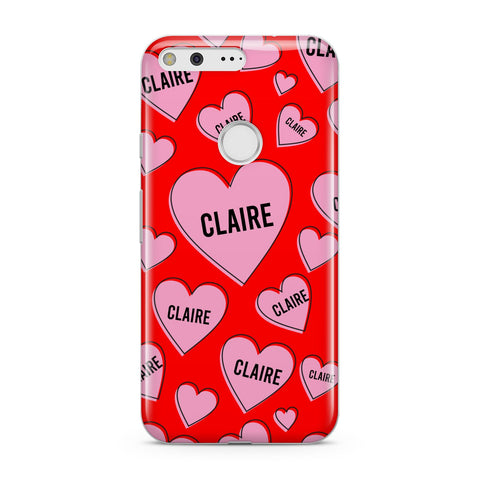 Personalised Hearts Google Case