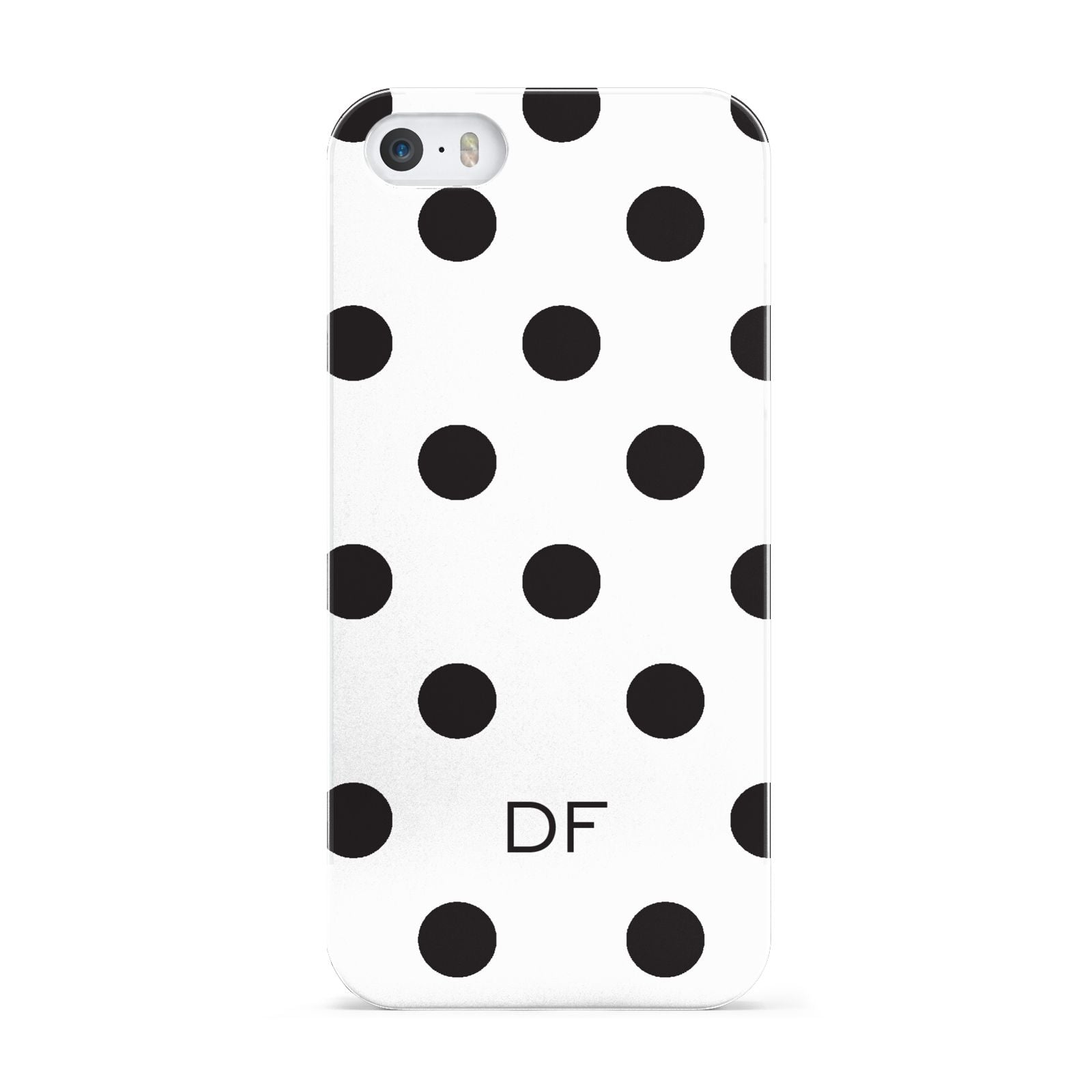 Personalised Initial Black Dots Apple iPhone 5 Case