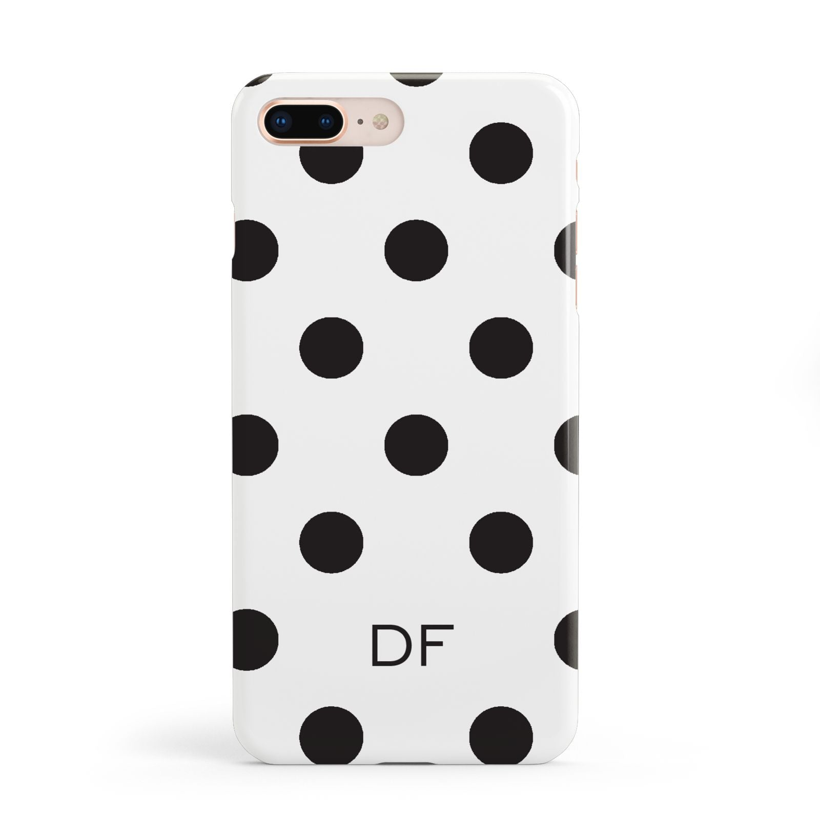 Personalised Initial Black Dots Apple iPhone 8 Plus Case