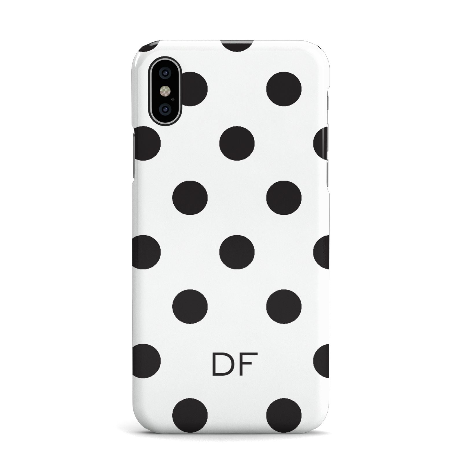 Personalised Initial Black Dots Apple iPhone X Case