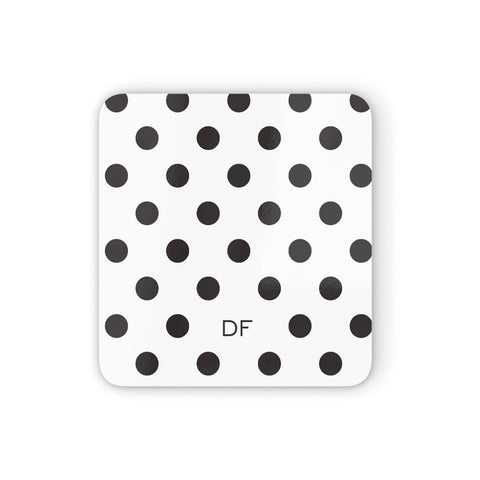 Personalised Initial Black Dots Coasters set of 4