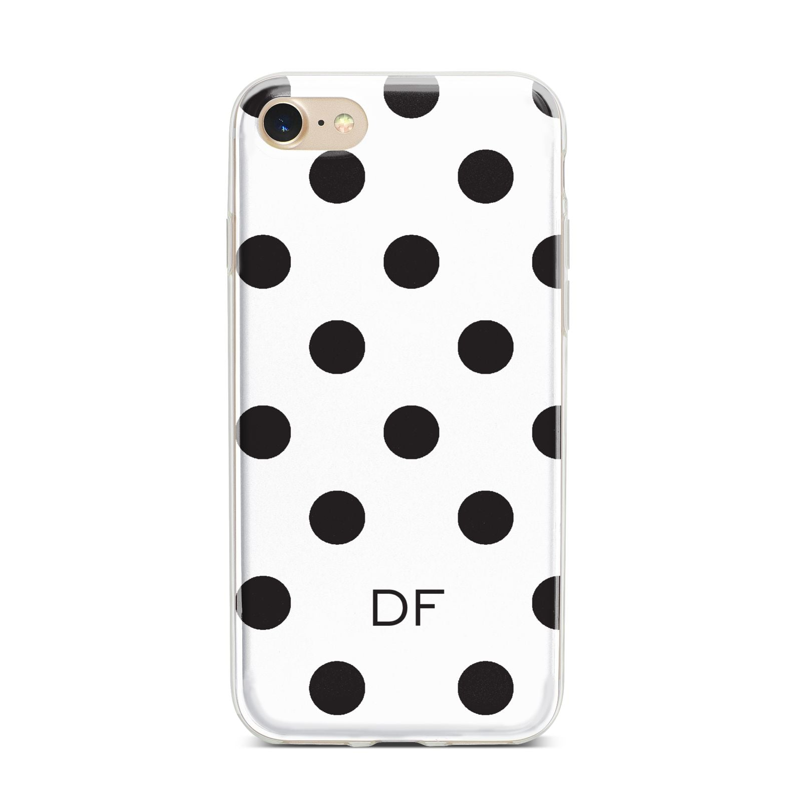 Personalised Initial Black Dots iPhone 7 Bumper Case on Gold iPhone